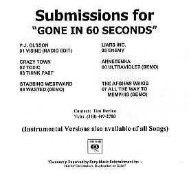 The Afghan Whigs Discography - Submissions for Gone in 60 Seconds